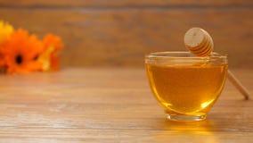 Miel dans un beau bol en verre Composition avec les fleurs (aucun 9 2, casserole de la LR) banque de vidéos