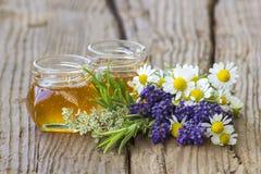 Miel de fines herbes avec les herbes fraîches Images libres de droits
