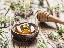 Miel de fines herbes versant dans la cuvette en bois Image libre de droits