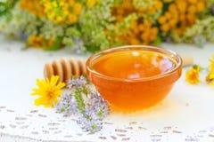 Miel de fleur dans le bol en verre Photos stock