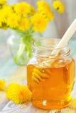 Miel de la flor en el tarro de cristal Imagen de archivo