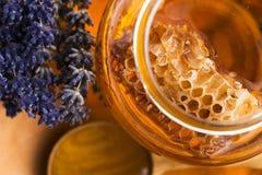 Miel de la lavanda con polen de la abeja y el peine de la miel Imagen de archivo libre de regalías