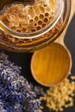 Miel de la lavanda con polen de la abeja y el peine de la miel Imagen de archivo