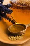 Miel de la lavanda con polen de la abeja y el peine de la miel Foto de archivo libre de regalías