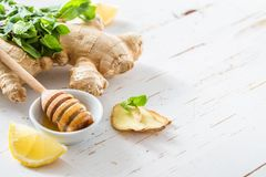 Miel de menthe de citron de gingembre sur le fond en bois blanc Photographie stock libre de droits