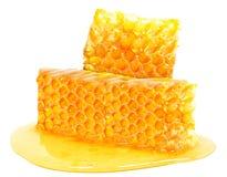 Miel de nid d'abeilles d'isolement Image stock