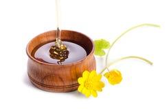 Miel de versement dans la cuvette en bois avec les fleurs jaunes Photographie stock