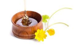 Miel de versement dans la cuvette en bois avec les fleurs jaunes Images stock