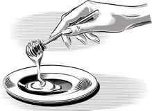 Miel de versement de main femelle illustration libre de droits