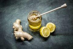 Miel del limón del jengibre Imágenes de archivo libres de regalías