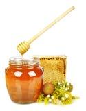 Miel dulce en el tarro de cristal Imagenes de archivo