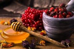 Miel e hierbas Imagen de archivo
