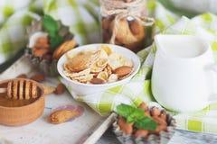 Miel en el cuenco, el muesli, las hojas de menta, las almendras y el tarro con leche en la bandeja de madera Foto de archivo