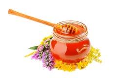 Miel en el tarro de cristal Imágenes de archivo libres de regalías