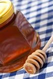 Miel en mantel de la comida campestre Fotografía de archivo libre de regalías