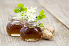 Miel en tarros, flores y cazo de la miel Imágenes de archivo libres de regalías