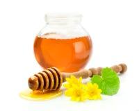 Miel en un tarro de cristal Imagen de archivo