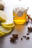 Miel et épices Images stock