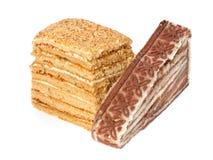 Miel et gâteau posé image stock