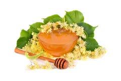 Miel frais avec des fleurs de tilleul Image libre de droits