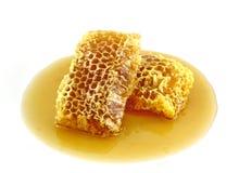 Miel frais avec le nid d'abeilles Photos stock