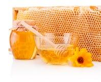 Miel fresca con el panal aislado en el fondo blanco Imagen de archivo