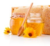 Miel fresca con el panal aislado en el fondo blanco Imagenes de archivo