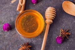 Miel fresca con el panal y las especias Fotos de archivo libres de regalías