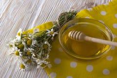 Miel fresca de la primavera con las flores de la manzanilla Fotos de archivo
