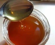Miel fresca en un tarro Imagenes de archivo