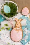 Miel-gâteau de lapin de Pâques, forme rose d'oeufs, panier d'herbe verte Photographie stock libre de droits
