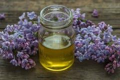 Miel orgánica en el tarro de cristal rodeado por el flor l púrpura de la primavera Imagenes de archivo