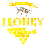 Miel, panal, abeja dulce watercolor Imagen de archivo