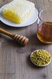 Miel, polen de la abeja y panal Fotos de archivo