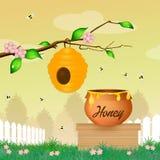 Miel y abejas ilustración del vector