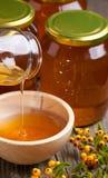 Miel y bayas que fluyen Foto de archivo libre de regalías