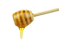 Miel y cazo de la miel en el fondo blanco Foto de archivo