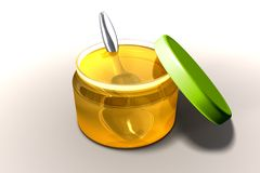 Miel y cuchara Imágenes de archivo libres de regalías