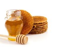 Miel y galletas Fotografía de archivo