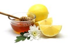Miel y limón en el fondo blanco Fotografía de archivo libre de regalías