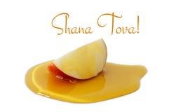 miel y manzana aisladas en un blanco Hashanah de Rosh y x28; holiday& judío x29 del Año Nuevo; concepto Fotos de archivo libres de regalías