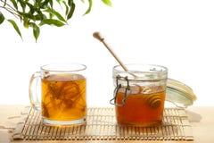 Miel y té del árbol de cal Foto de archivo libre de regalías
