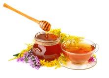Miel y té en la taza de cristal Foto de archivo libre de regalías