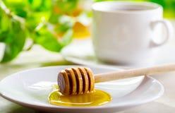 Miel y taza de té Imagen de archivo libre de regalías