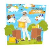 Miele, ape ed apicoltore sull'arnia di apicoltura royalty illustrazione gratis