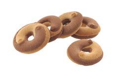 Miele, biscotti del latte isolati Fotografia Stock