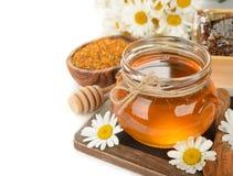 Miele, camomilla e polline immagini stock libere da diritti