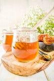 Miele con i pettini del miele e del polline immagine stock libera da diritti