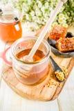 Miele con i pettini del miele e del polline fotografie stock