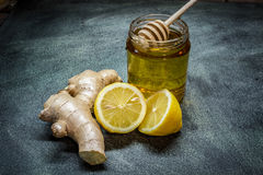 Miele del limone dello zenzero Fotografie Stock